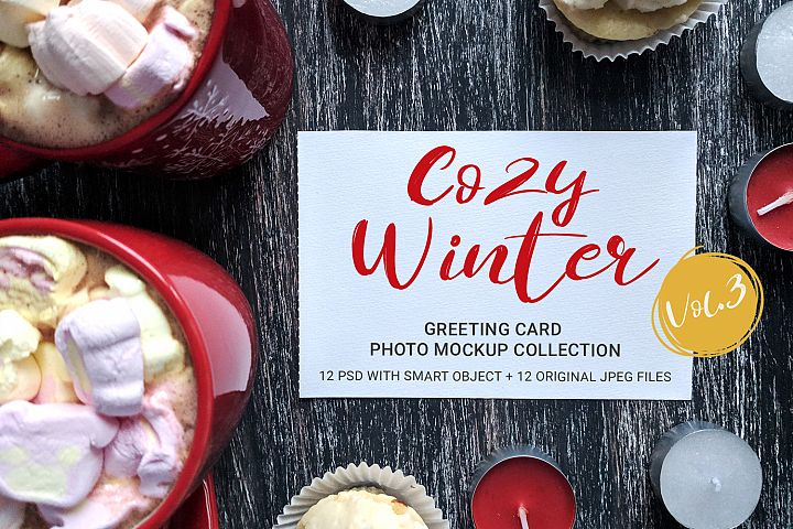 Cozy Winter - greeting card photo mockups - v.3