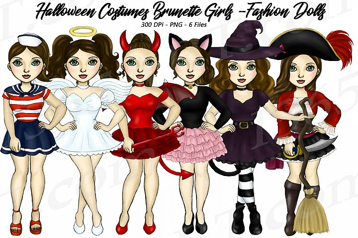 Halloween Girls Fashion Clipart, Costume Brunette Graphics