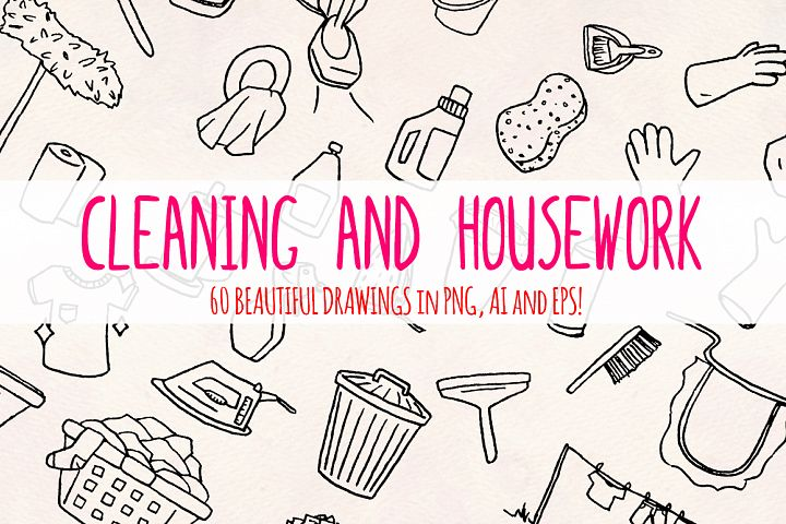 60 Cleaning and Housework Hand Drawn Vector Graphics