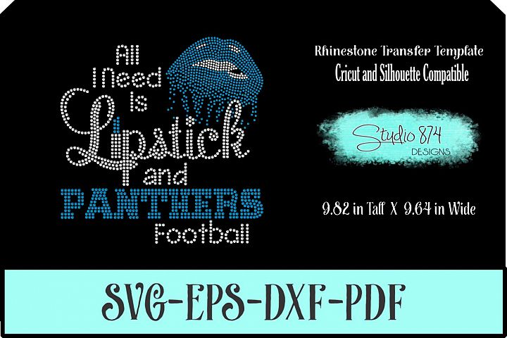 Panthers Football Rhinestone Template Digital Download