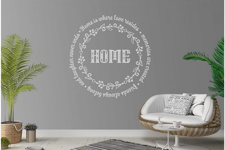 Love Family SVG Quote cut file. Round frame example image 7