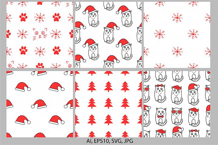 6 New Year and Christmas holiday seamless patterns with cat
