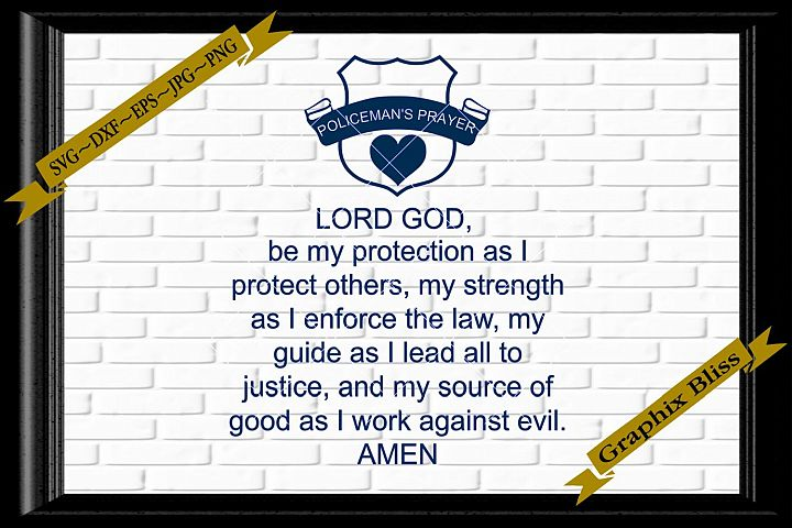 Policemans Prayer Police Officer Sign First Responder SVG