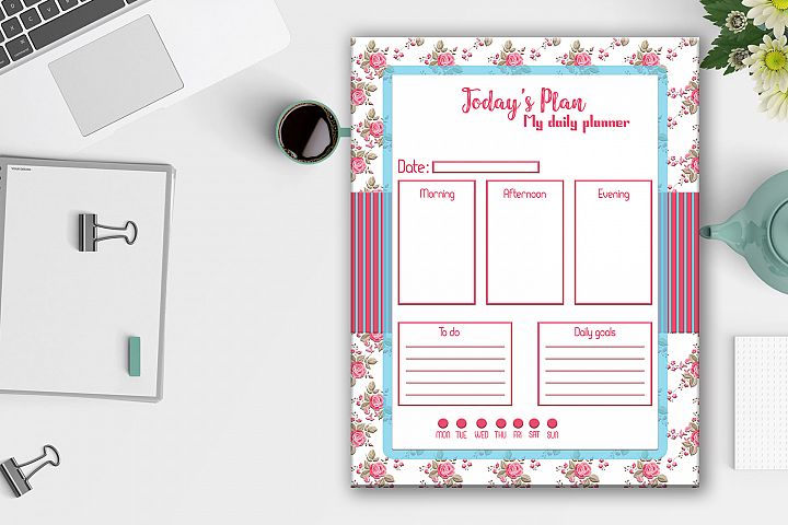 Daily Planner Roses,Shabby Chic,Digital Planner,BLACK FRIDAY