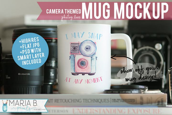 Camera & Photography Themed White Mug Mockup