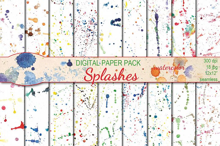 Watercolor Splashes seamless digital paper pack