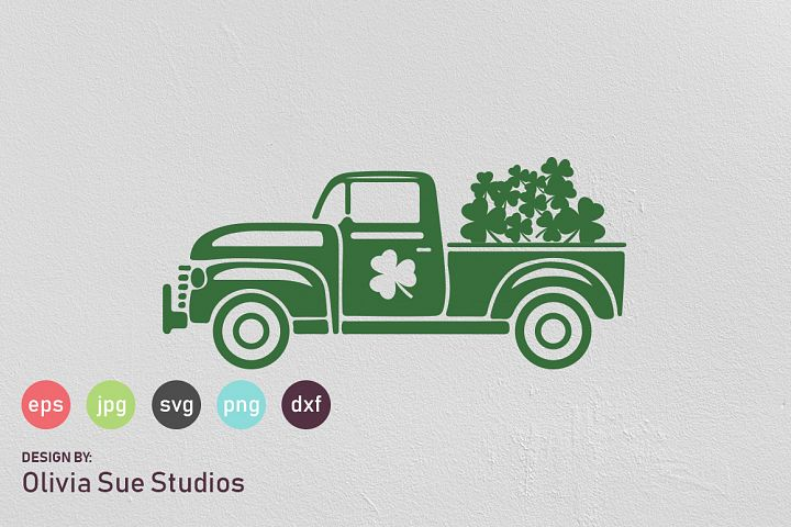 St Patricks Day Vintage Old Truck SVG Cut File