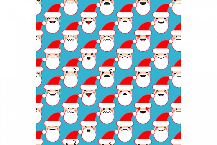 Seamless background with Emotions of Santa Claus.