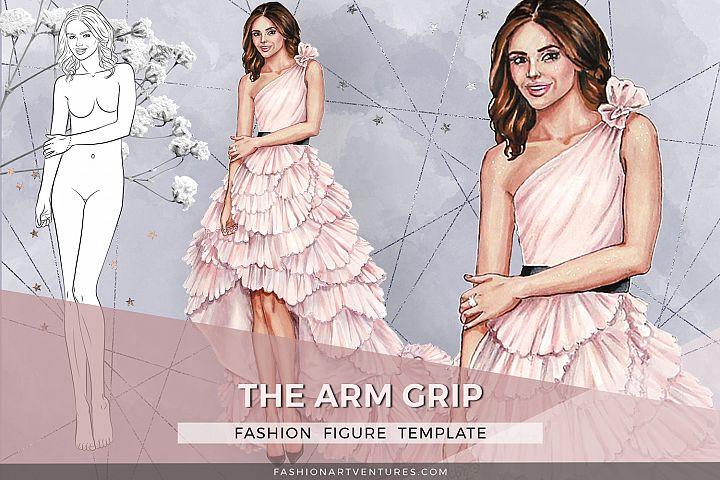Fashion figure- Over the shoulder, printable fashion croquis