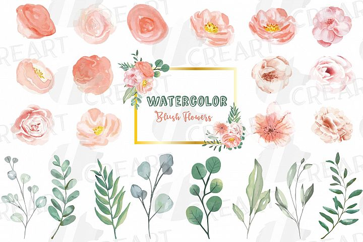 Blush floral wedding clip art, watercolor pink flowers, leaf
