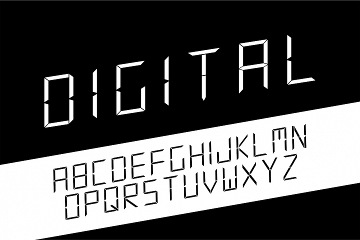 Digital minimalistic vector alphabet