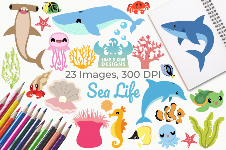 Sea Life Clipart, Instant Download Vector Art