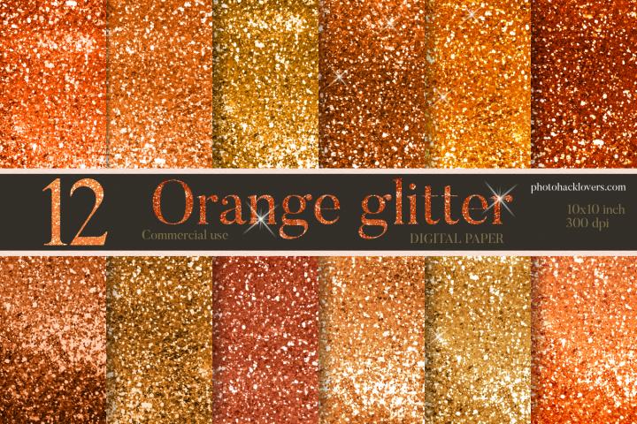 12 Orange Glitter Digital Papers