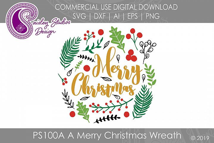Merry Christmas Wreath SVG DXF Ai EPS PNG