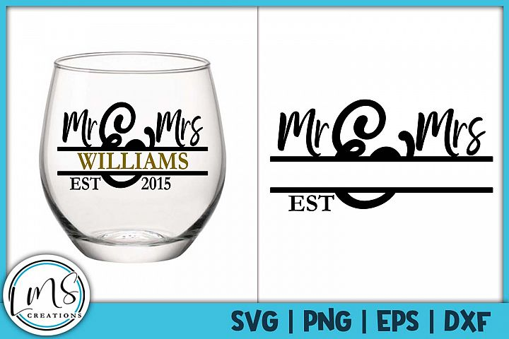 Mr and Mrs Split Monogram SVG, PNG, EPS, DXF
