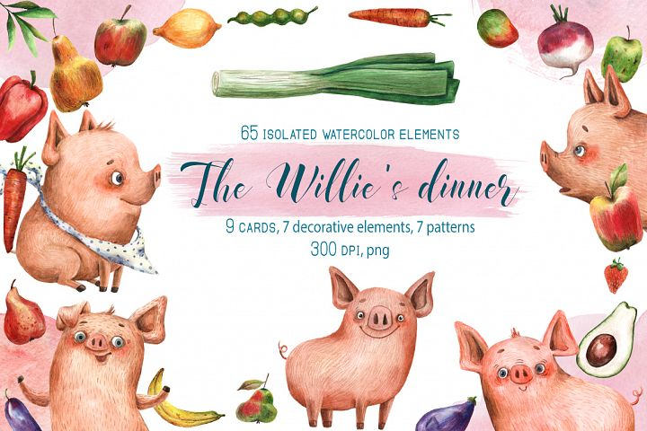 The Willies Dinner - Watercolor Clip Art Set