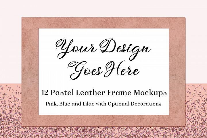 Pastel Leather Frame Mockups -Pink, Blue & Lilac - 12 PSDs