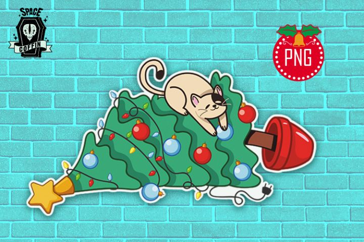 Naughty cat and christmas tree clipart PNG file