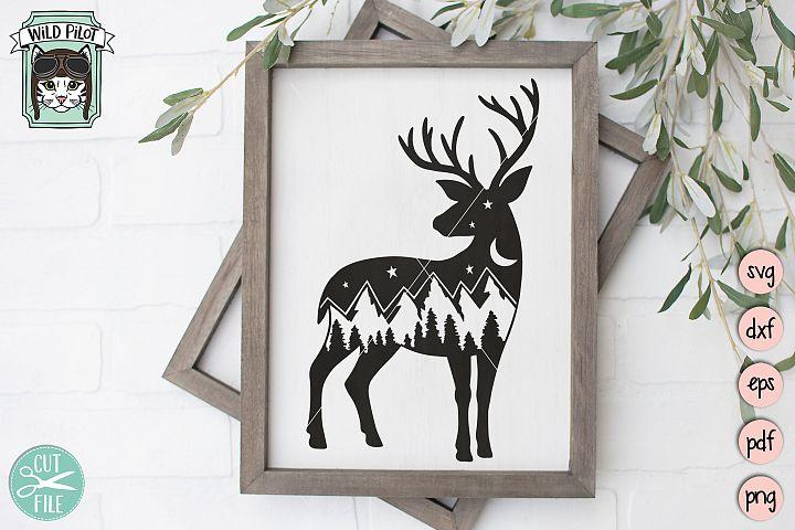 Deer SVG file, Deer Silhouette, Mountain Range, Camping svg