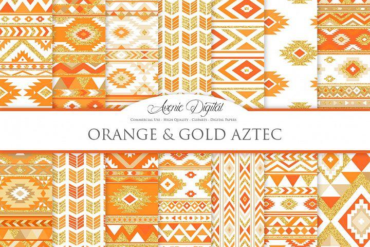 Orange and Gold Glitter Boho Seamless Patterns