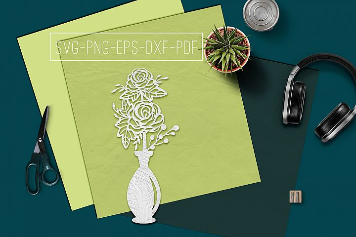 Roses In Vase Papercut Template, Spring Decor, SVG, PDF