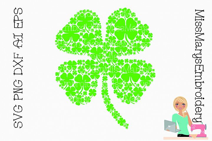 Four Leaf Clover full of Clovers SVG Cutting File PNG DXF AI