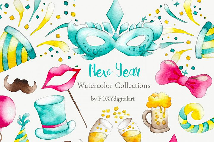 New Years Eve Party Watercolor Clipart