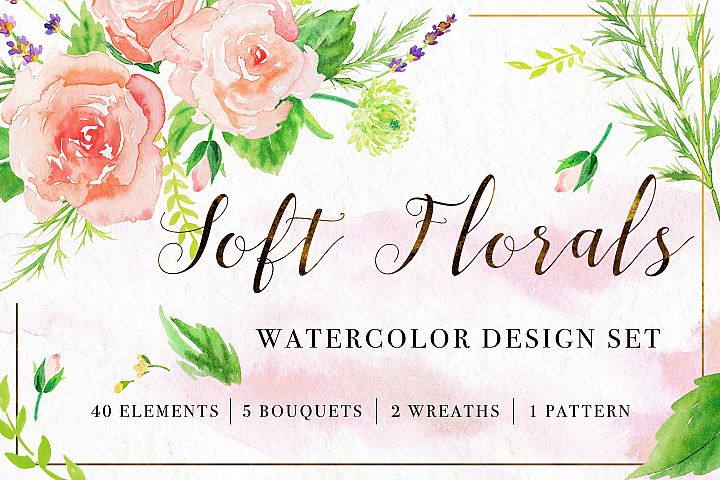 Soft Florals Watercolor Set