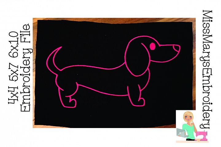 Dachshund Outline Embroidery File
