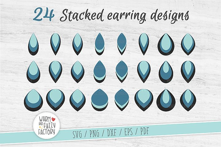 Stacked earring svg, Teardrop Earring Templates | Cut File