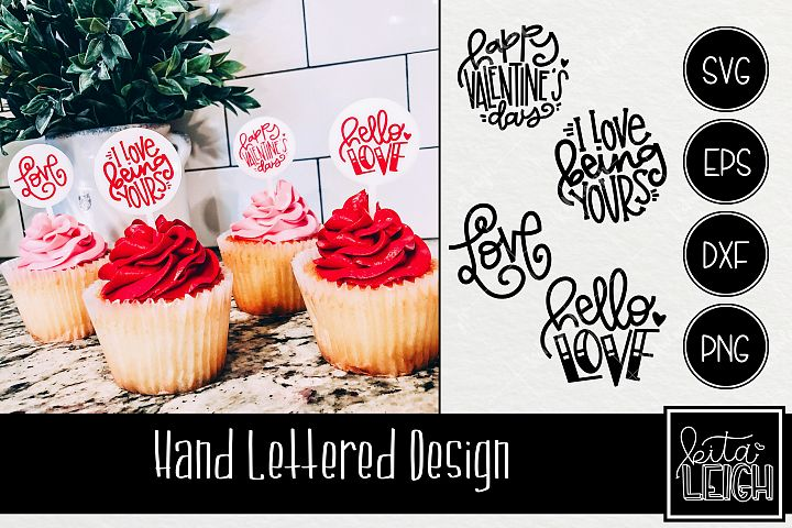 Valentines Day Hand Lettered Rounds SVG