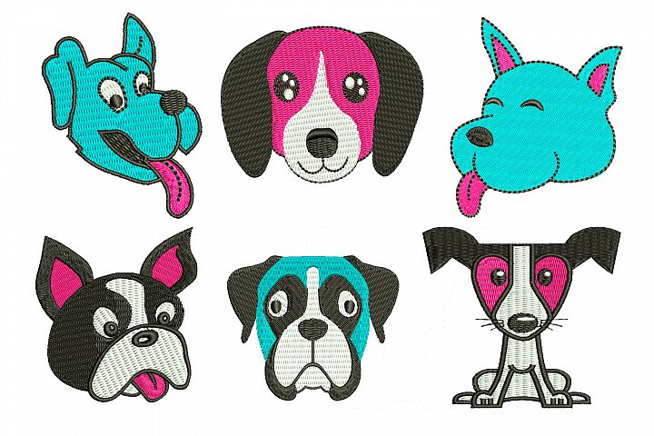 Dog Faces Bundle - machine embroidery design