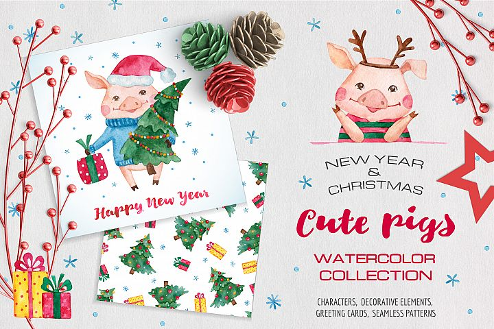 Pig Year Watercolor Collection