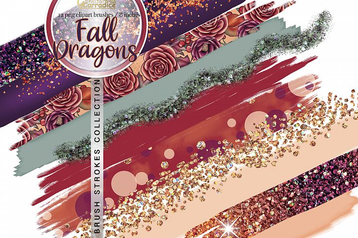 Fall Dragon - Autumn paint brush strokes collection