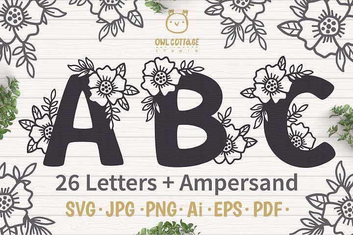 Floral alphabet svg, Floral Monogram letters Bundle, Wedding