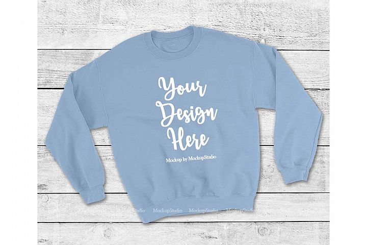 Light Blue Sweatshirt Mock Up, Unisex Sweatshirt Flat Lay