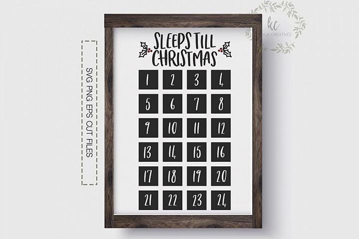 Sleeps Till Christmas SVG, Christmas Countdown SVG, Cricut