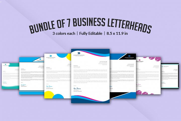 Bundle of 7 Letterheads Templates