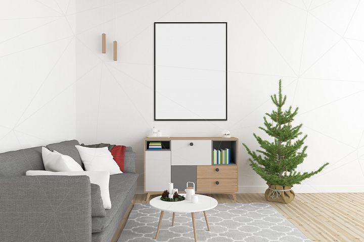 Christmas interior mockup bundle - blank wall mock up