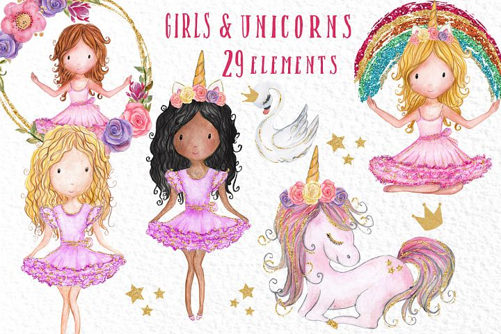 Rainbow Unicorn Clipart Girls clipart Watercolor clipart