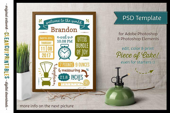 BIRTH STATS TEMPLATE|Photoshop Edit|Baby Birth Announcement