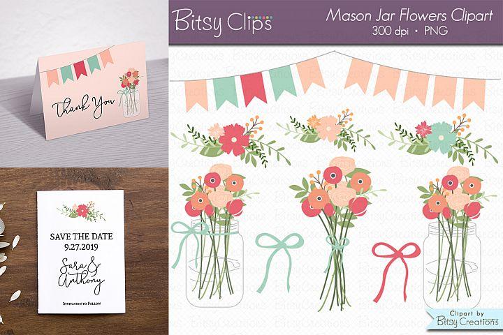 Mason Jar Flowers Digital Art Set Clipart