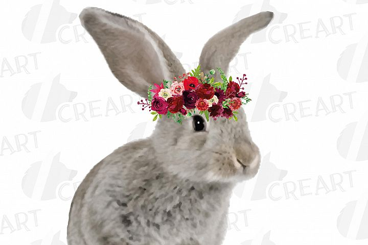 Baby rabbit with floral crown baby shower gift clip art