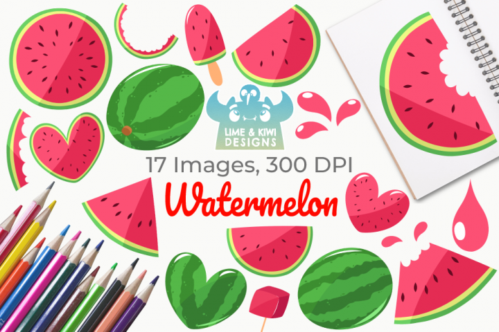 Watermelon Clipart, Instant Download Vector Art