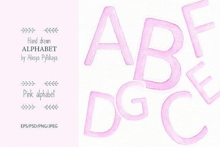 Pink Alphabet - Watercolor set