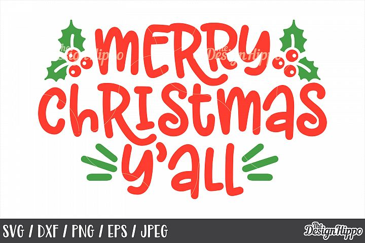 Merry Christmas Yall SVG, Mistletoe, PNG, DXF, Cut Files