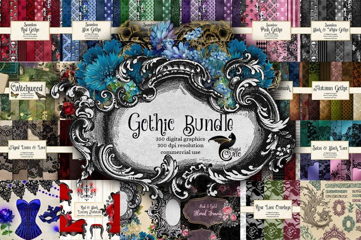 Gothic Bundle - 350 Textures, Patterns and Clip Art