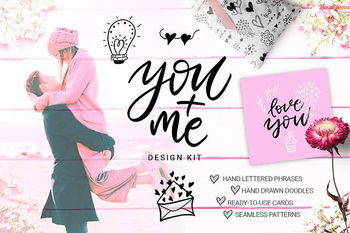You and Me - hand drawn design kit
