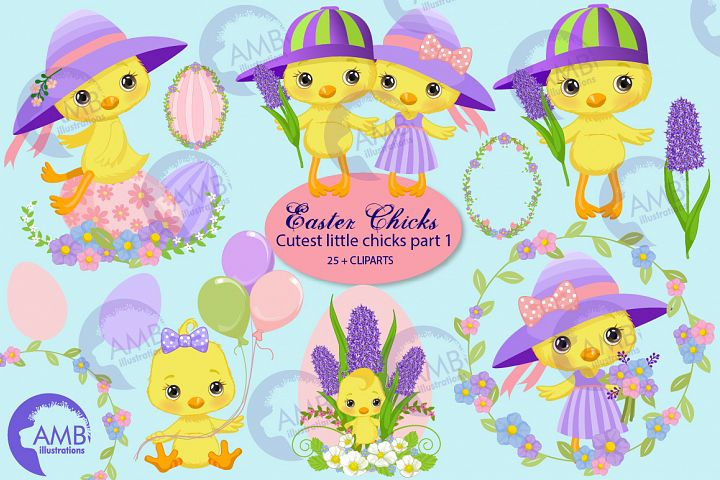 Easter chick clipart, part 1, AMB-2726