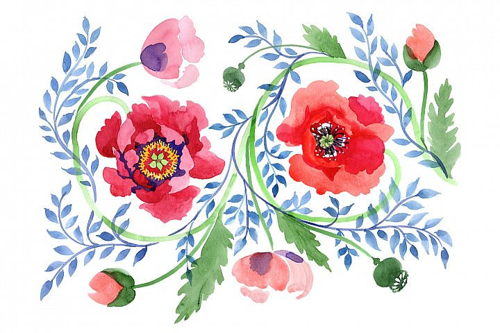 Ornament of poppies red watercolor PNG
